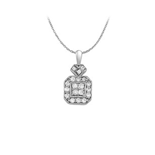 LoveBrightJewelry Diamond Square Pendant in 14K White Gold 0.25 CT TDW