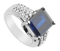 LoveBrightJewelry Diffuse Sapphire and Cubic Zirconia Ring 4.75 Carat Total Gem Weight
