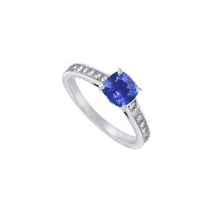 LoveBrightJewelry Diffuse Sapphire And Diamond Engagement Ring In 14k White Gold 1.25 Ct Tgw
