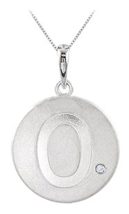 LoveBrightJewelry Disc Pendant in Rhodium Plating 925 Sterling Silver Engrave Number 0 with Single Cubic Zirconia