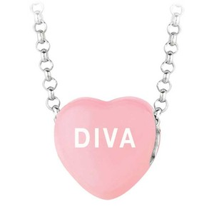 LoveBrightJewelry Diva Light Pink Heart Pendant Necklace With 16 Inch Rolo Rhodium Chain
