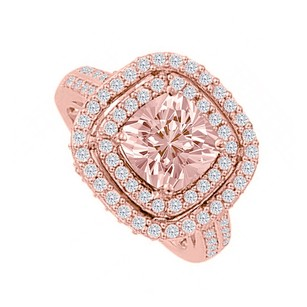 LoveBrightJewelry Double Halo Cubic Zirconia Morganite Rose Gold Ring