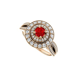 LoveBrightJewelry Double Halo Curve Split Shank Ruby and CZ Ring Vermeil