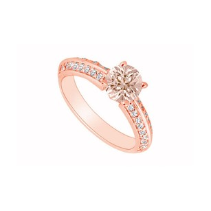 LoveBrightJewelry Prong Set Brilliant Cut Morganite And Czs On 14k Rose Gold Vermeil Engagement Ring At Fab Price