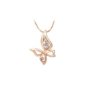 LoveBrightJewelry Elegant Butterfly CZ Pendant Necklace Vermeil For Her