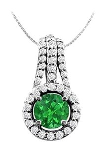 LoveBrightJewelry Emerald and Cubic Zirconia Pendant in 925 Sterling Silver 1.00 CT TGW