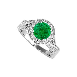 LoveBrightJewelry Emerald And Cubic Zirconia Twisted Shank Ring In Sterling Silver At Reasonable Price Range