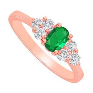 LoveBrightJewelry Emerald And Cz Engagement Ring In 14k Rose Gold Vermeil