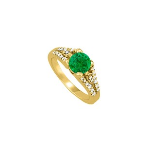 LoveBrightJewelry Emerald And Cz Ring In Yellow Gold Vermeil 1.50 Tgw