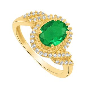 LoveBrightJewelry Emerald And Czs Swirl Engagement Ring Rose Gold Vermeil