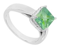 LoveBrightJewelry Emerald and Diamond Ring 14K White Gold 1.00 CT TGW