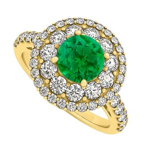 LoveBrightJewelry Emerald Cubic Zirconia Halo Engagement Ring 2.00 Tgw