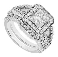 LoveBrightJewelry Engagement Ring with Wedding Bands Set of AAA+ CZ in 925 Sterling Silver. 2 CT. TGW