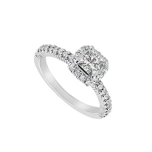 LoveBrightJewelry Fab Cubic Zirconia Engagement Ring Sterling Silver