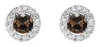 LoveBrightJewelry Fall in Love Choco Hue Smoky Quartz CZ Stud Earrings