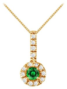 LoveBrightJewelry Fancy Round Emerald and Cubic Zirconia Halo Pendant in 18K Yellow Gold Vermeil