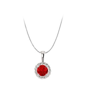 LoveBrightJewelry Fancy Ruby Pendant with 14K White Gold Twisted Pattern