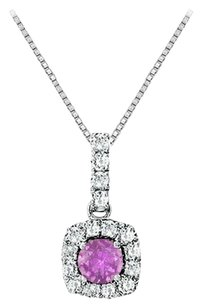 LoveBrightJewelry Fancy Square Amethyst and Cubic Zirconia Halo Pendant in Sterling Silver