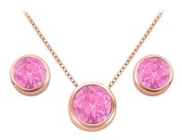 LoveBrightJewelry November Birthstone Pink Topaz Pendant and Stud Earrings Set in 14K Rose Gold Vermeil