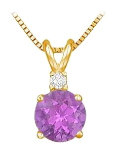 LoveBrightJewelry February Birthstone Amethyst Round Pendant with Cubic Zirconia in Gold Vermeil over Silver