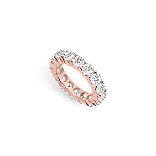 LoveBrightJewelry Five Carat Cubic Zirconia Eternity Band In 14k Rose Gold Vermeil Fifth And Tenth Wedding Anniver