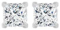 LoveBrightJewelry Fleur De Lis Princess Cut CZ 14K White Gold Earrings