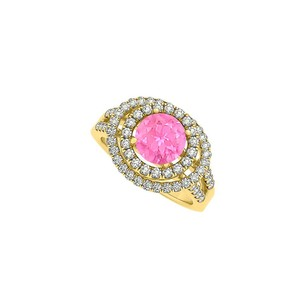 LoveBrightJewelry Four Prong Set Pink Sapphire And Cubic Zirconia Double Halo Engagement Ring