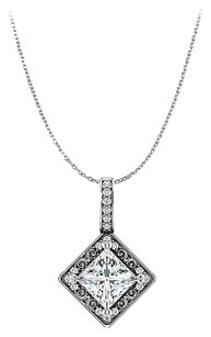 LoveBrightJewelry Free Chain with CZ Square Pendant 925 Sterling Silver