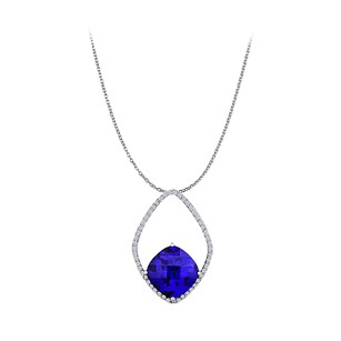 LoveBrightJewelry Free Style Sapphire CZ Pendant 14K White Gold