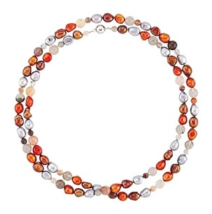 LoveBrightJewelry Freshwater Cultured Dyed Multi Color Pearl and Agate Beads 42 Inch Necklace in Silver Lock
