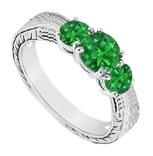 LoveBrightJewelry Frosted Emerald Three Stone Ring 925 Sterling Silver 0.50 Carat Total Gem Weight