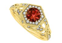 LoveBrightJewelry Garnet And Cz Filigree Ring In 18k Yellow Gold Vermeil