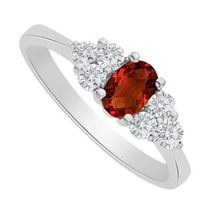 LoveBrightJewelry Garnet And Cz Seven Stones Ring In 925 Sterling Silver