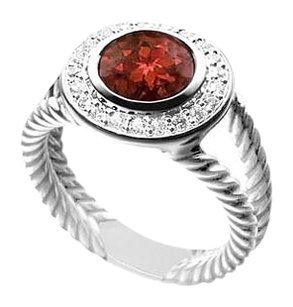 LoveBrightJewelry Garnet and Diamond Rope Ring 14K White Gold 10.25 CT TGW
