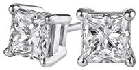 LoveBrightJewelry Gift Classy Design Princess Cut Natural Diamond Studs