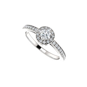 LoveBrightJewelry Glittering Prong Set CZ Halo Ring 925 Sterling Silver