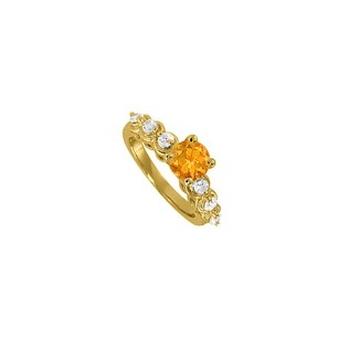 LoveBrightJewelry Gorgeous Gift Citrine And Cubic Zirconia Ring 1.25 Tgw
