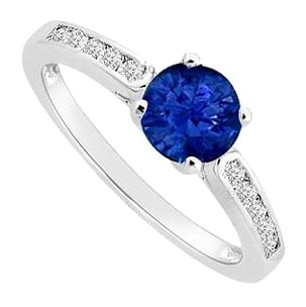 LoveBrightJewelry Half Carat Diffuse Sapphire and Cubic Zirconia Engagement Ring in Sterling Silver 0.75 Carat TGW