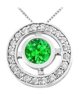 LoveBrightJewelry Half Carat Frosted Emerald and Cubic Zirconia Circle Pendant