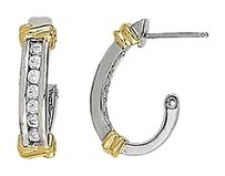 LoveBrightJewelry Half Round Two Tone Diamond Hoop Earrings for Women 0.50 CT TDW