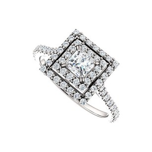 LoveBrightJewelry Halo Cubic Zirconia Engagement Ring With Double Halo In Sterling Silver 1.00 Ct Tgw
