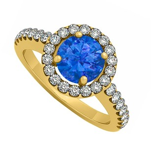 LoveBrightJewelry Halo Engagement Ring September Birthstone Sapphire With Cubic Zirconia 18k Yellow Gold Vermeil