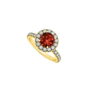 LoveBrightJewelry Halo Engagement Ring With Garnet January Birthstone And Cubic Zirconia In 18k Gold Vermeil