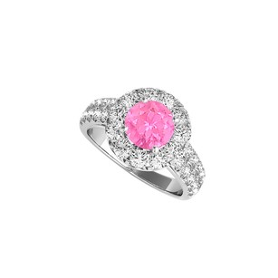 LoveBrightJewelry Halo Pink Sapphire Engagement Ring With Double Cz Rows