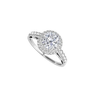LoveBrightJewelry Halo Ring With Cubic Zirconia In 925 Sterling Silver
