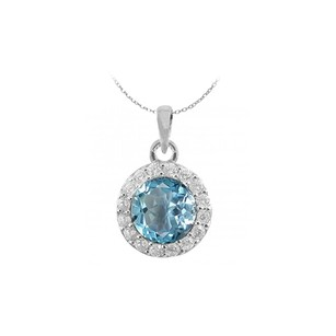 LoveBrightJewelry Halo Round Created Blue Topaz And Round Cz In Sterling Silver Pendant