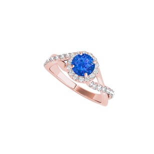 LoveBrightJewelry Halo Sapphire Criss Cross Ring In 14k Rose Gold Vermeil