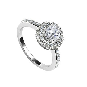 LoveBrightJewelry Halo Semi Mount Engagement Ring In 14k White Gold 0.50 Ct Diamonds Not Included Center Diamond