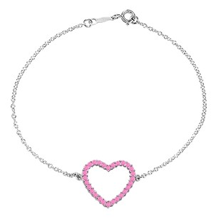 LoveBrightJewelry Heart Bracelet with Created Pink Sapphire in 925 Sterling Silver 0.75 CT TGW