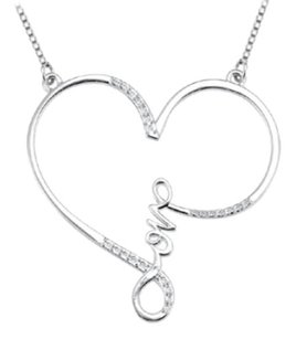 LoveBrightJewelry New Women Jewelry Heart Love Pendant Swarovski Studded in 925 Sterling Silver Necklace 0.15 Carat